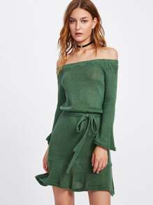 Bardot Self Tie Frill Hem Knit Dress