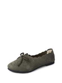 Scallop Edge Suede Flats
