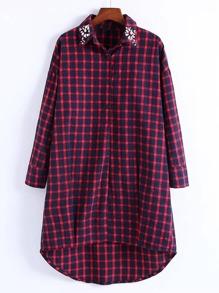 Rhinestone Detail Gingham High Low Shirt Dress