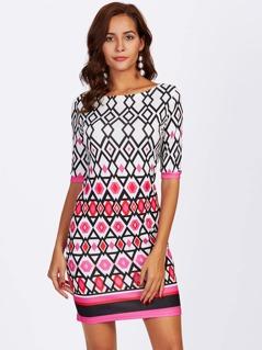 Geo Print Striped Hem Dress