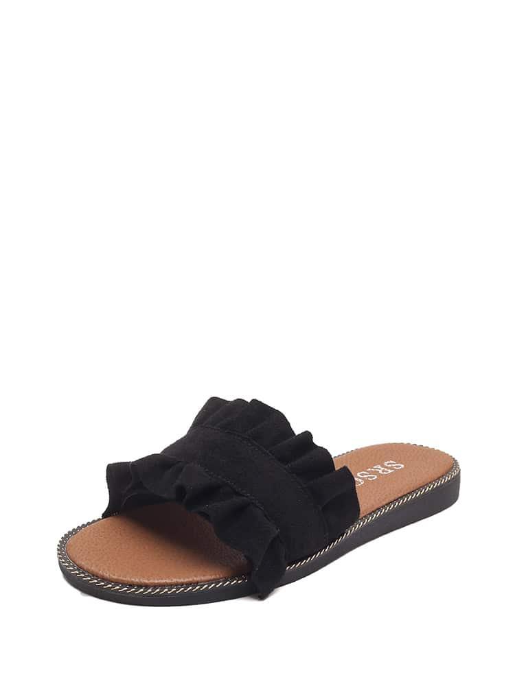 Ruffle Trim Flat Slippers