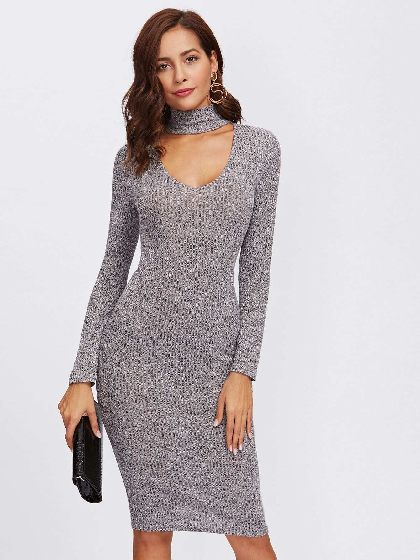 Choker Neck Rib Knit Marled Dress dress171024717