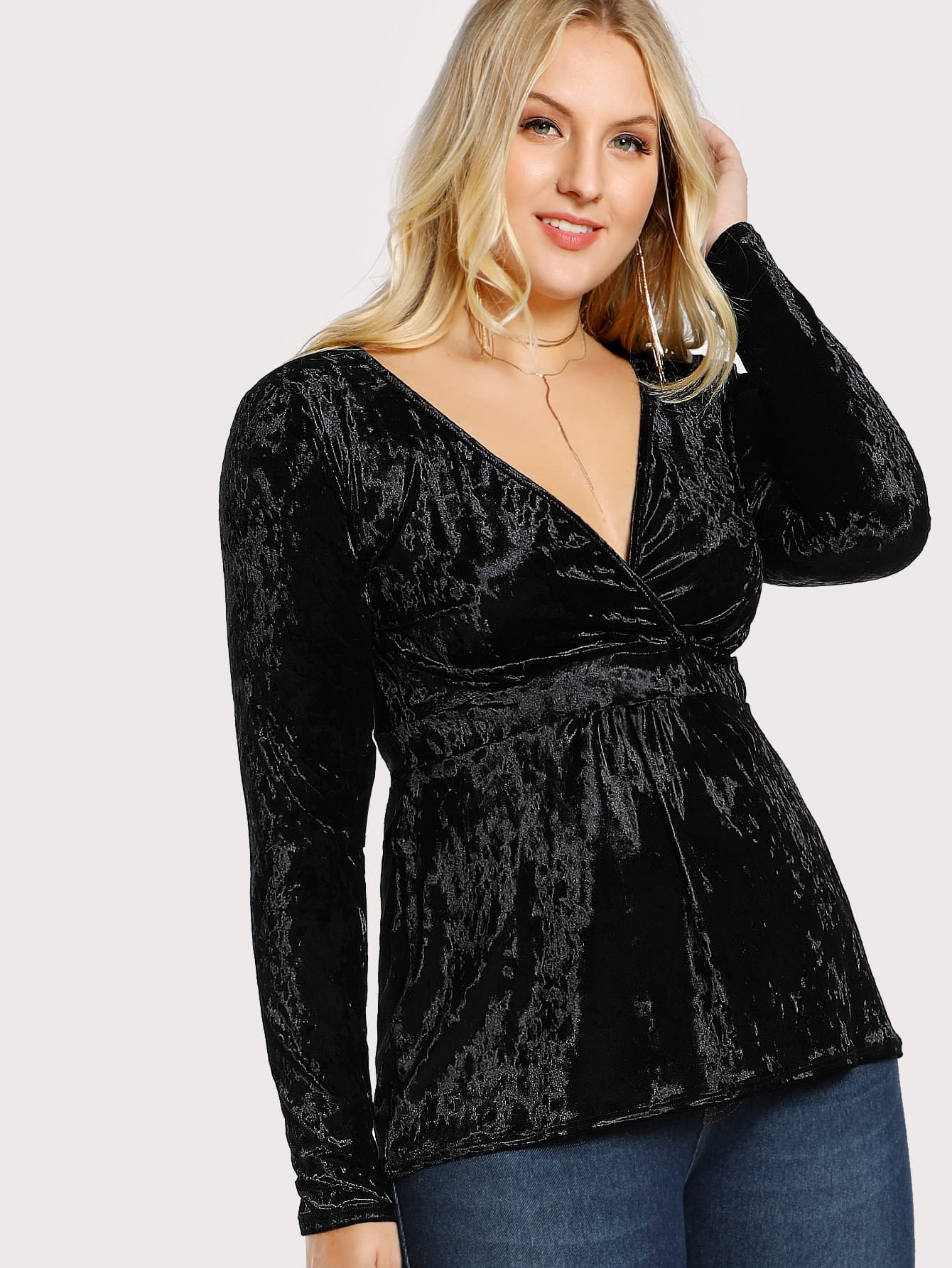 Surplice Front Crushed Velvet Top