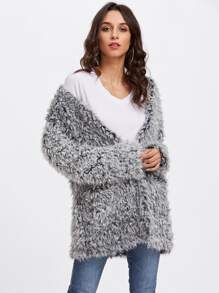 Open Front Fuzzy Faux Fur Coat