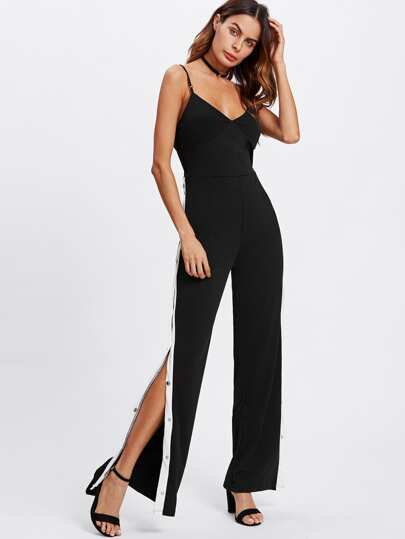 Side Split Panel Studded Detail Cami Jumpsuit