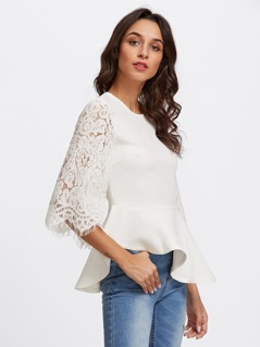 Lace Fluted Sleeve Asymmetric Peplum Top