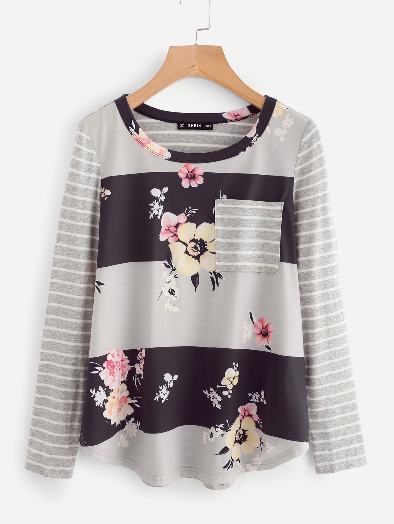 цены Mixed Print Curved Hem Top