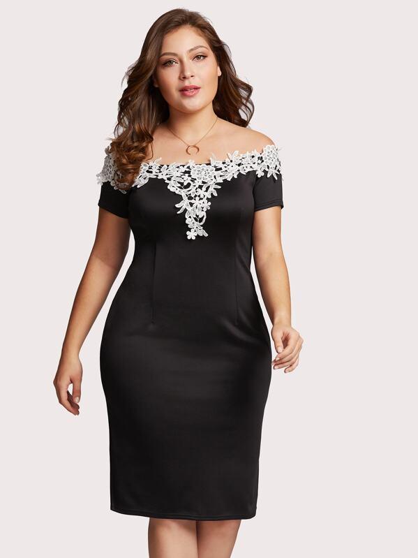 Plus Off Shoulder Lace Applique Trim Dress, Carol