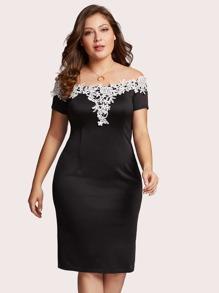 Off Shoulder Lace Applique Trim Dress