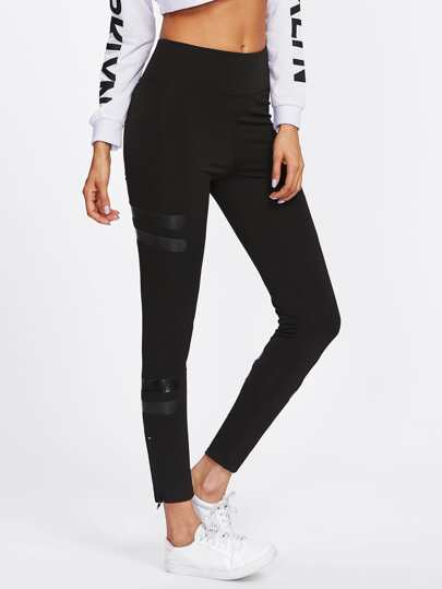 Varsity Striped Zip Up Hem Leggings