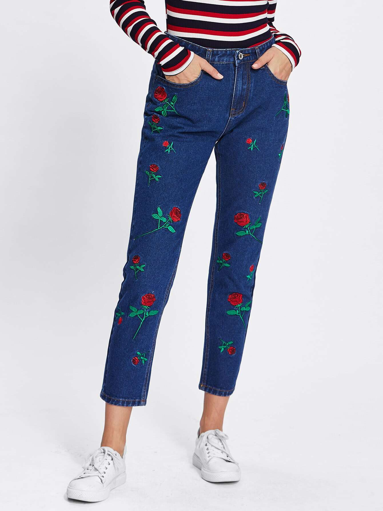Image of Allover Flower Embroidery Front Jeans