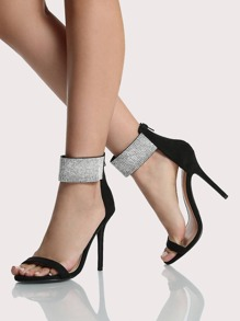 Crystal Ankle Strap Heels BLACK