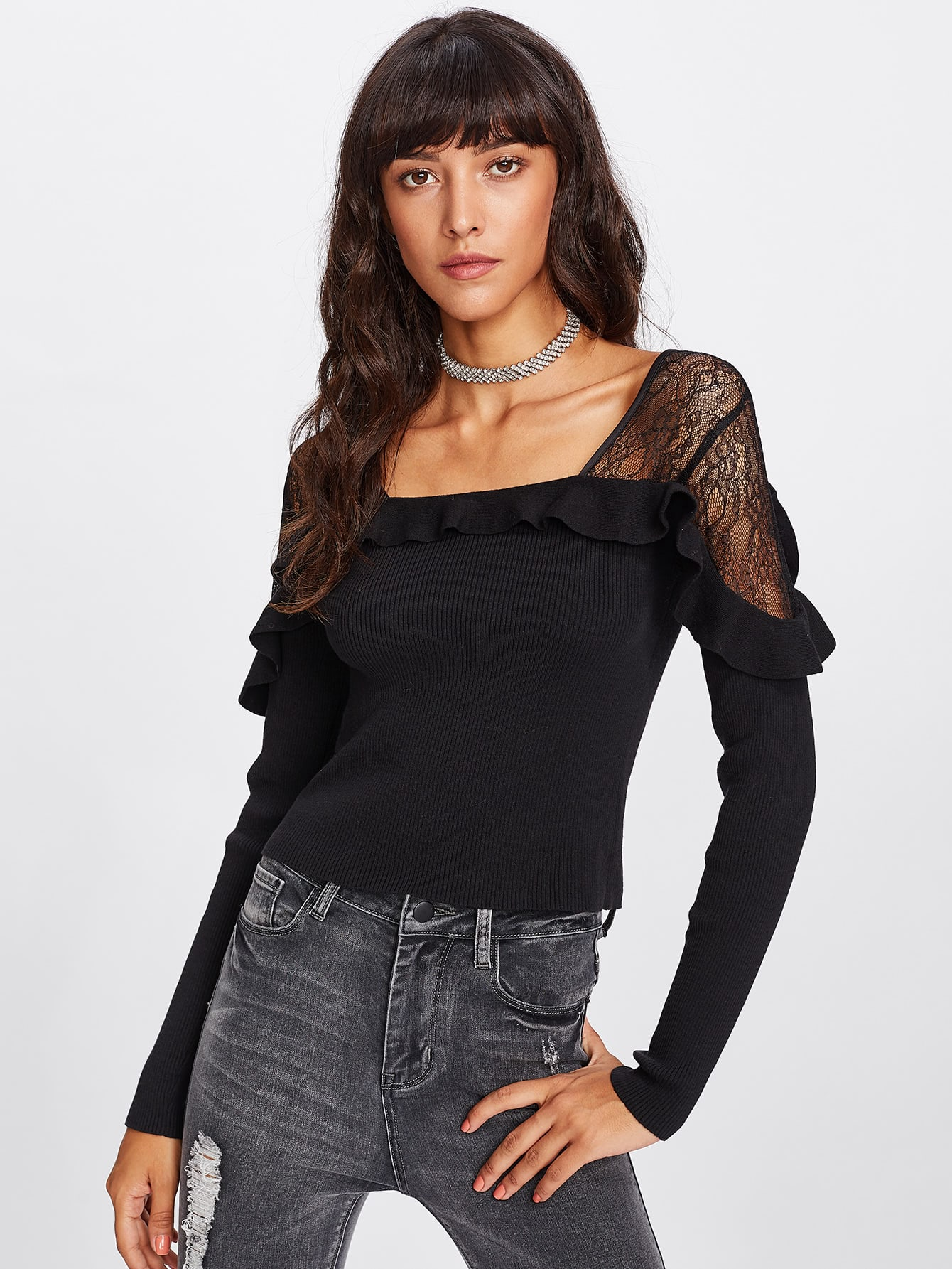 Lace Shoulder Ruffle Ribbed Knit Tee tee171019452