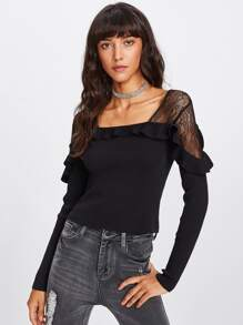 Lace Shoulder Ruffle Ribbed Knit Tee