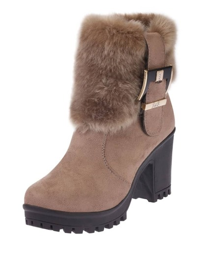Faux Fur Detail Block Heeled Ankle Boots