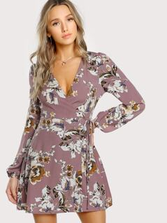 Surplice Wrap Floral Tea Dress