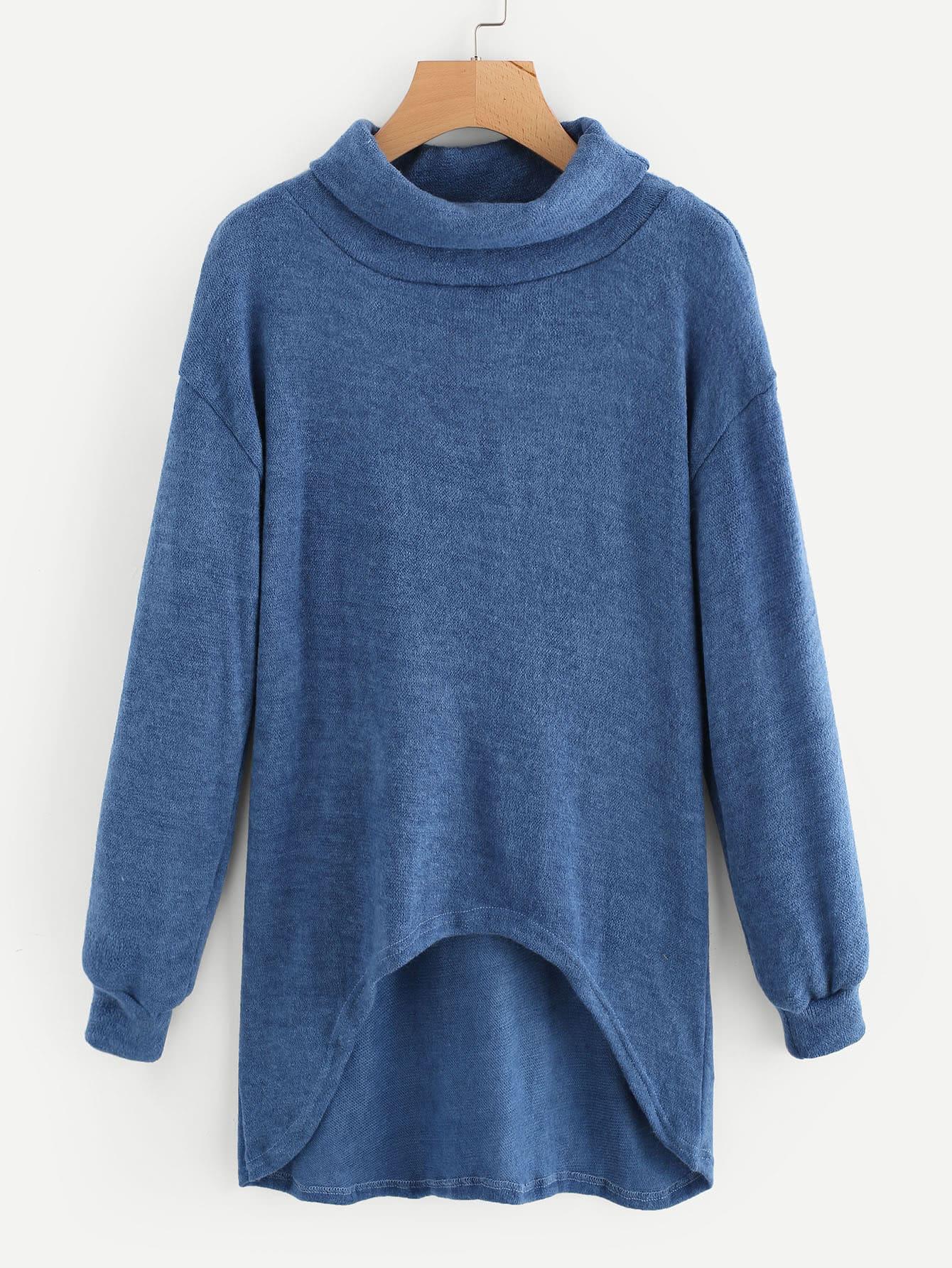 Cowl Neck Drop Shoulder Dip Hem Jumper two tone drop shoulder sweatshirt