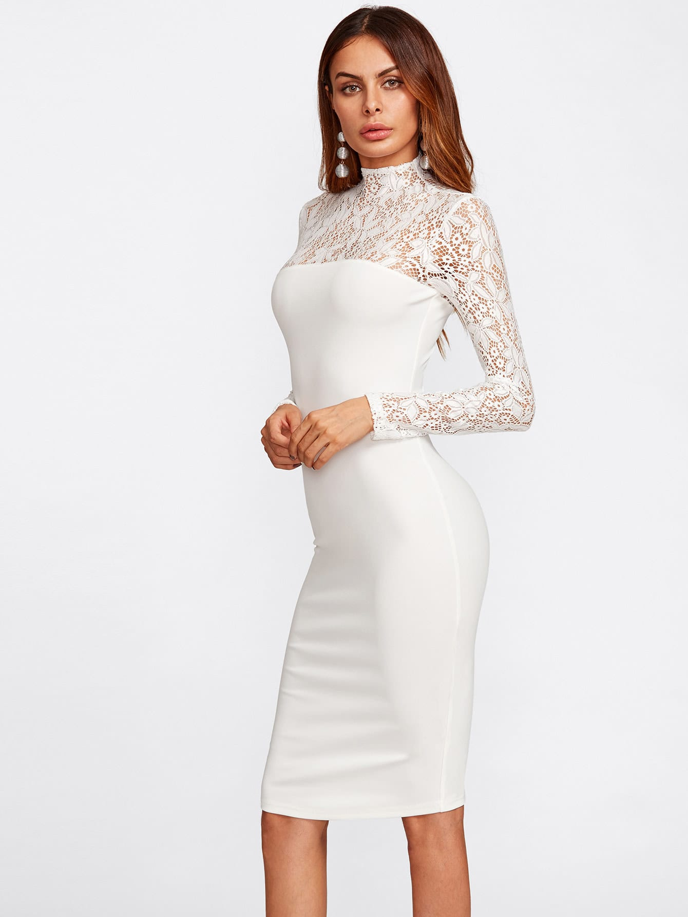 floral lace yoke and sleeve form fitting dress shein