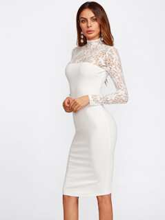 Floral Lace Yoke And Sleeve Form Fitting Dress