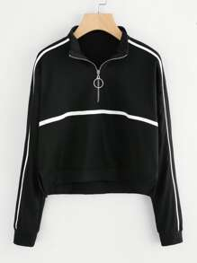 Striped Panel Zip Neck Sweatshirt