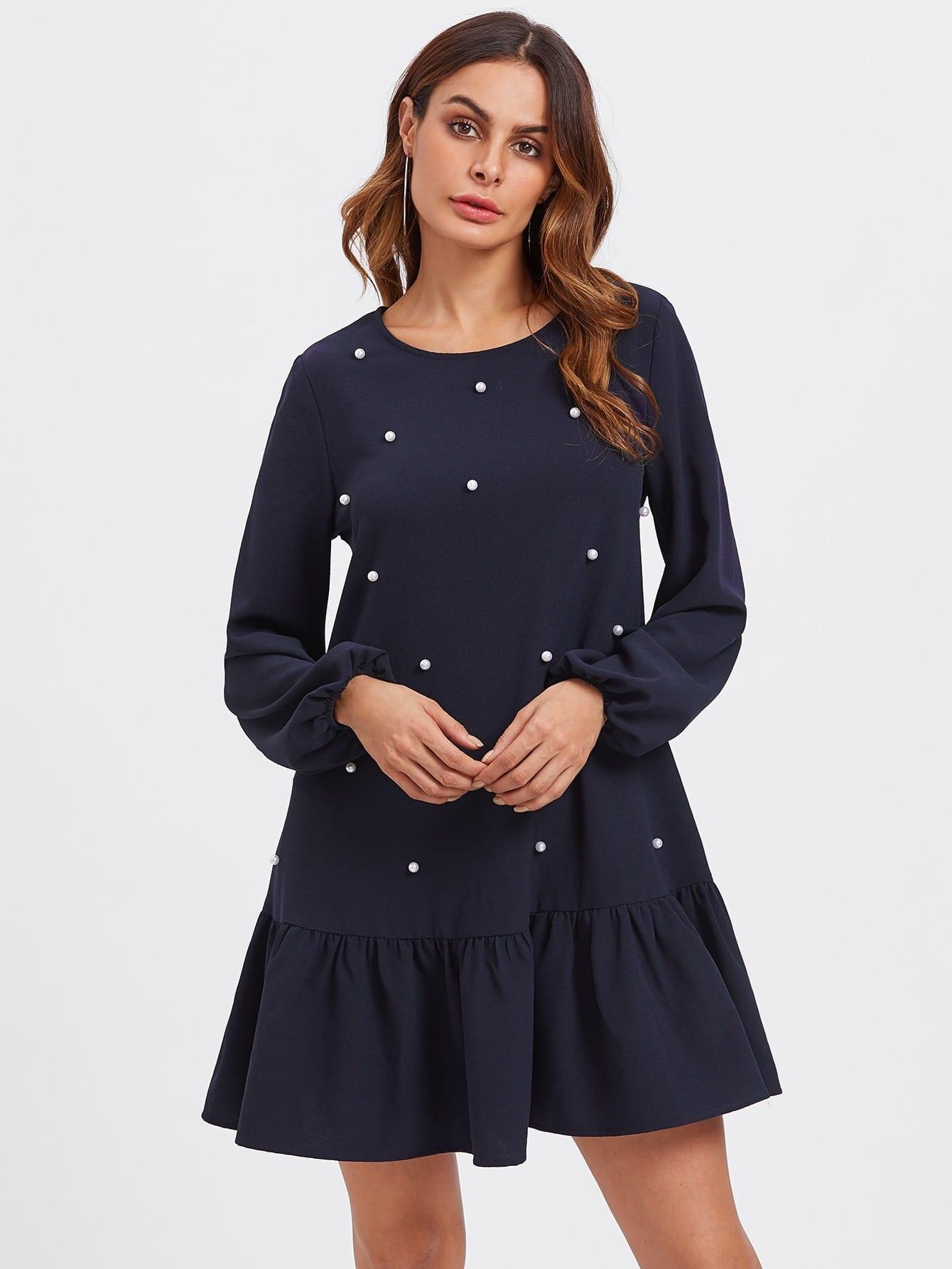 Pearl Embellished Flounce Hem Dress