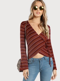 Striped Long Sleeve Wrap Top BURGUNDY
