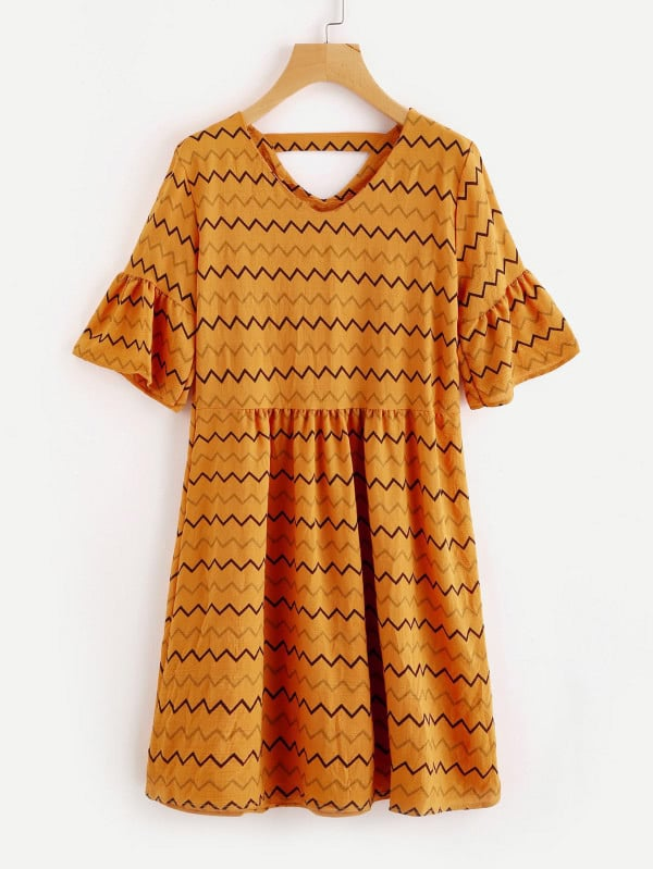 Chevron Striped Double V Fluted Sleeve Dress v notch pearl leaf chain detail fluted sleeve dress