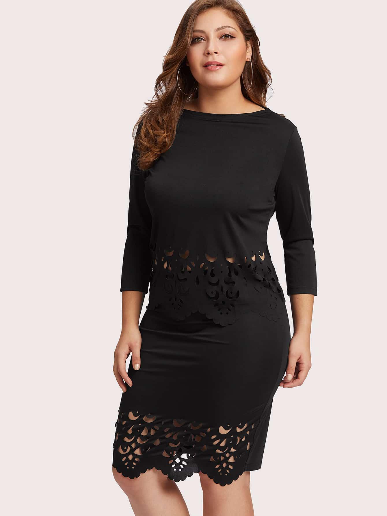 Plus Laser Cut Hollow Dress