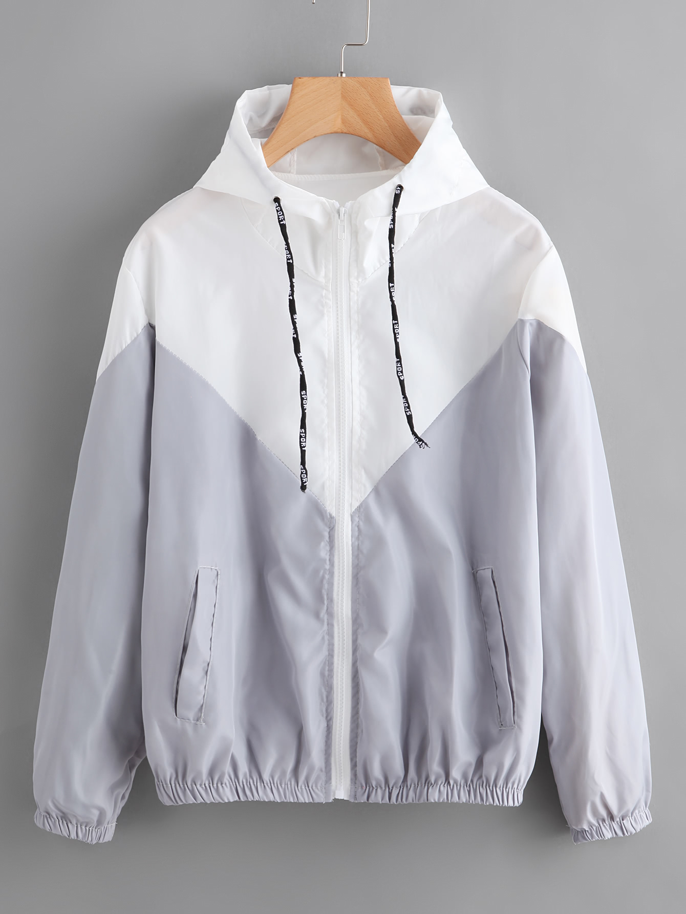 Купить Видспорта Контрастный Серый Жакеты + Куртки, null, SheIn