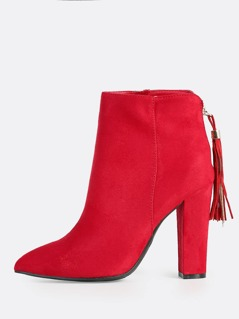 Point Toe Faux Suede Zip Up Booties RED