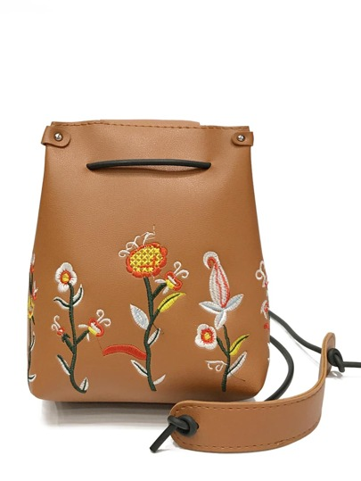 Flower Embroidered Flap PU Crossbody Bag