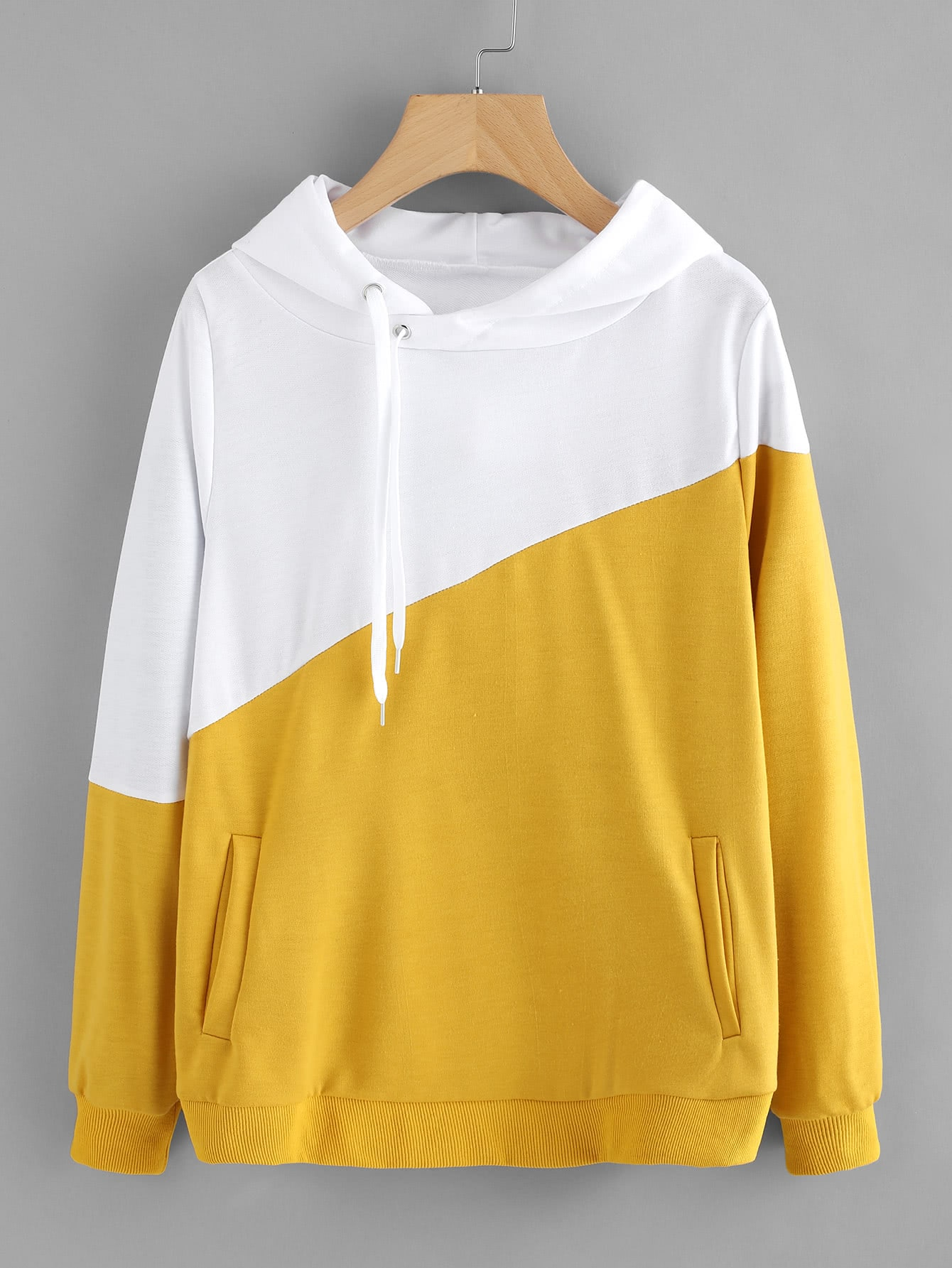 Color Block Cut And Sew Hoodie cut and sew color block jumper