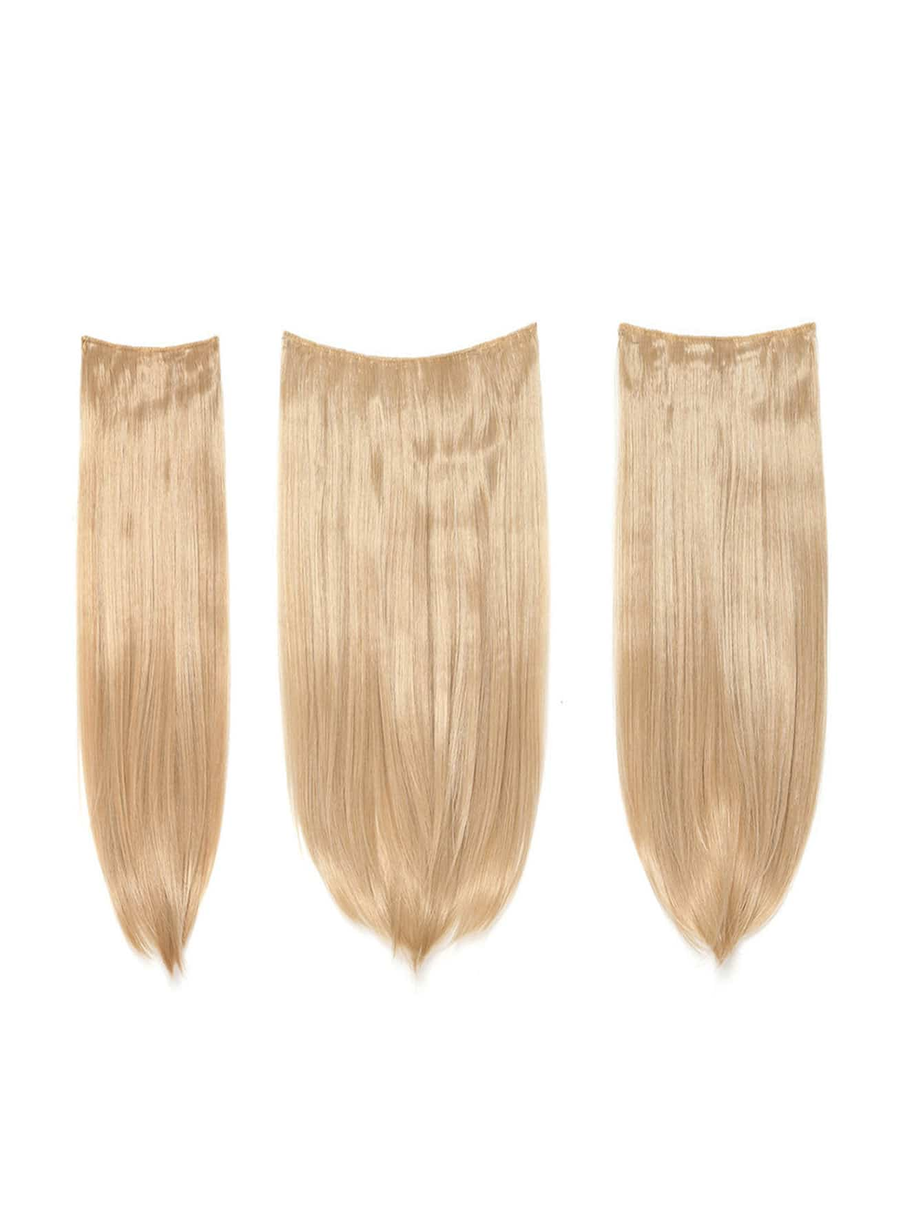 цена на Champagne Blonde Clip In Straight Hair Extension 3pcs