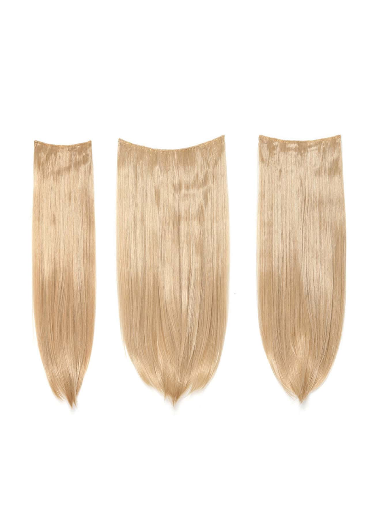 Купить Светло-золотистые искусственные волосы с заколкой 3 шт., null, SheIn