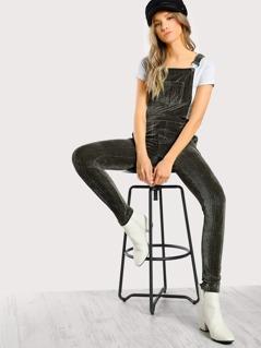 Skinny Velvet Overalls