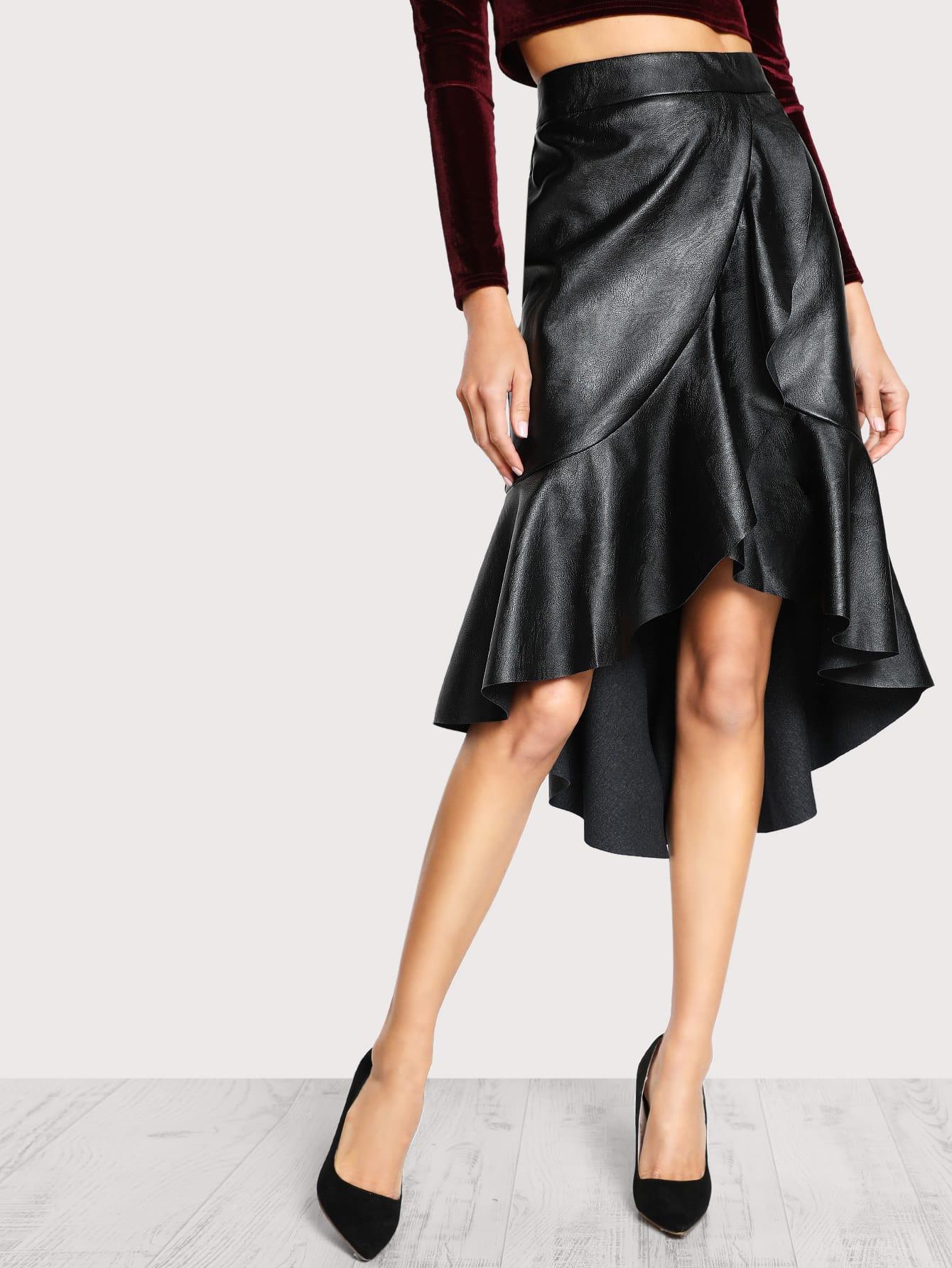 faux leather high low ruffle skirt black shein sheinside