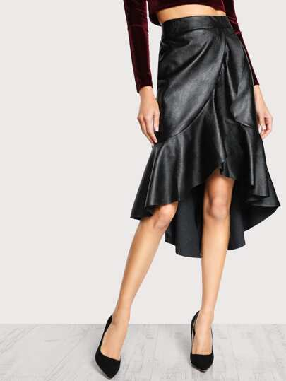 Faux Leather High Low Ruffle Skirt BLACK