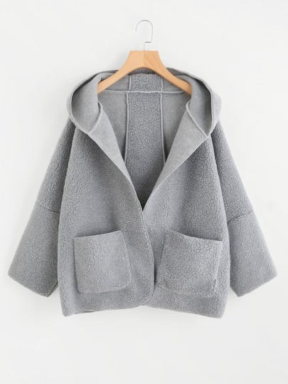 Drop Shoulder Dual Pocket Hooded Coat