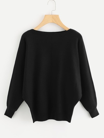 Ribbed Trim Batwing Knit Sweater