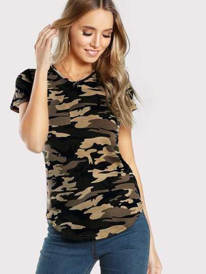 Camiseta escote V camo -verde oliva