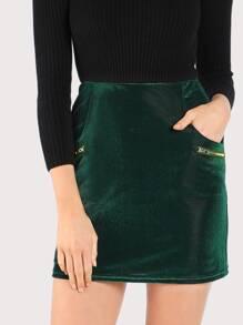 Zip Detail Bodycon Skirt