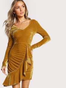 Velvet Long Sleeve Dress MUSTARD