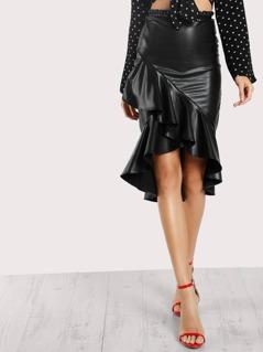 High Low Ruffle Hem Faux Leather Skirt BLACK