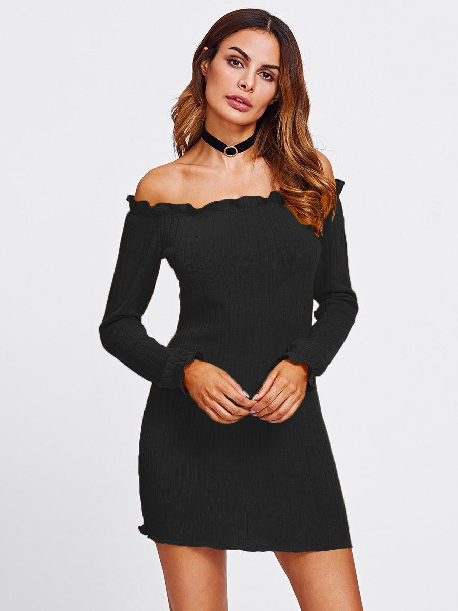 Lettuce Edge Trim Bardot Knit Dress