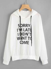 Camisa de capucha con slogan