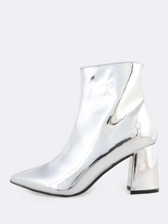 Metallic Ankle Booties SILVER