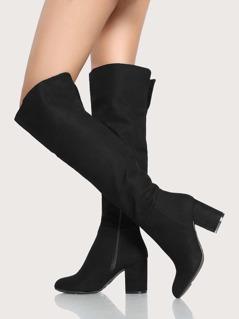 Plain Faux Suede Boots BLACK