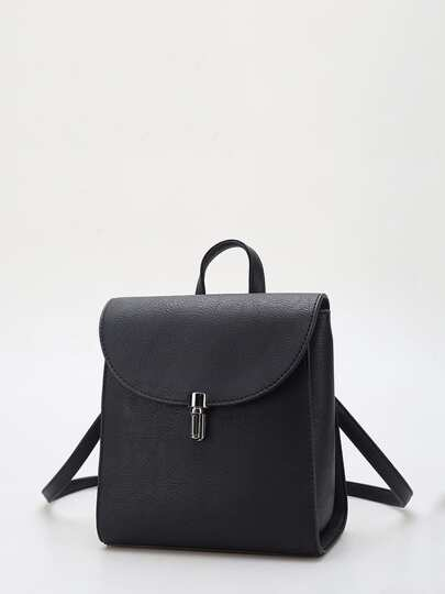 Push Lock Detail PU Backpack