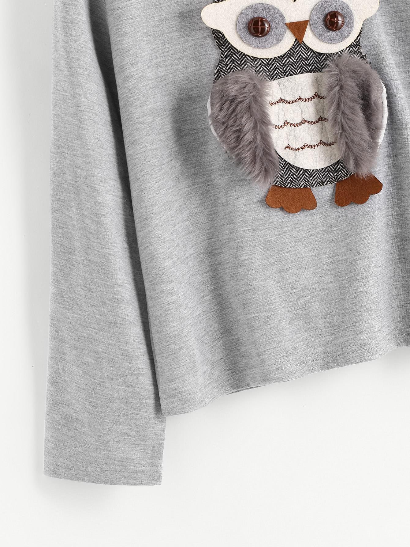 3D owl Applique Faux Fur Detail Hoodie