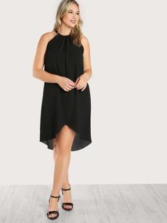 Flowy Chiffon Dress BLACK